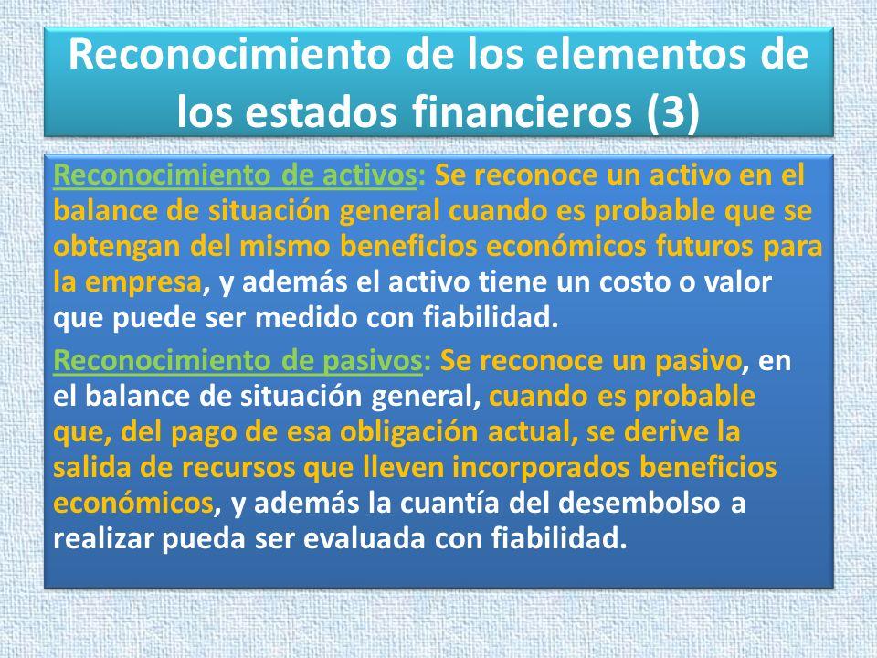Reconocimiento de los elementos de los estados financieros (3)