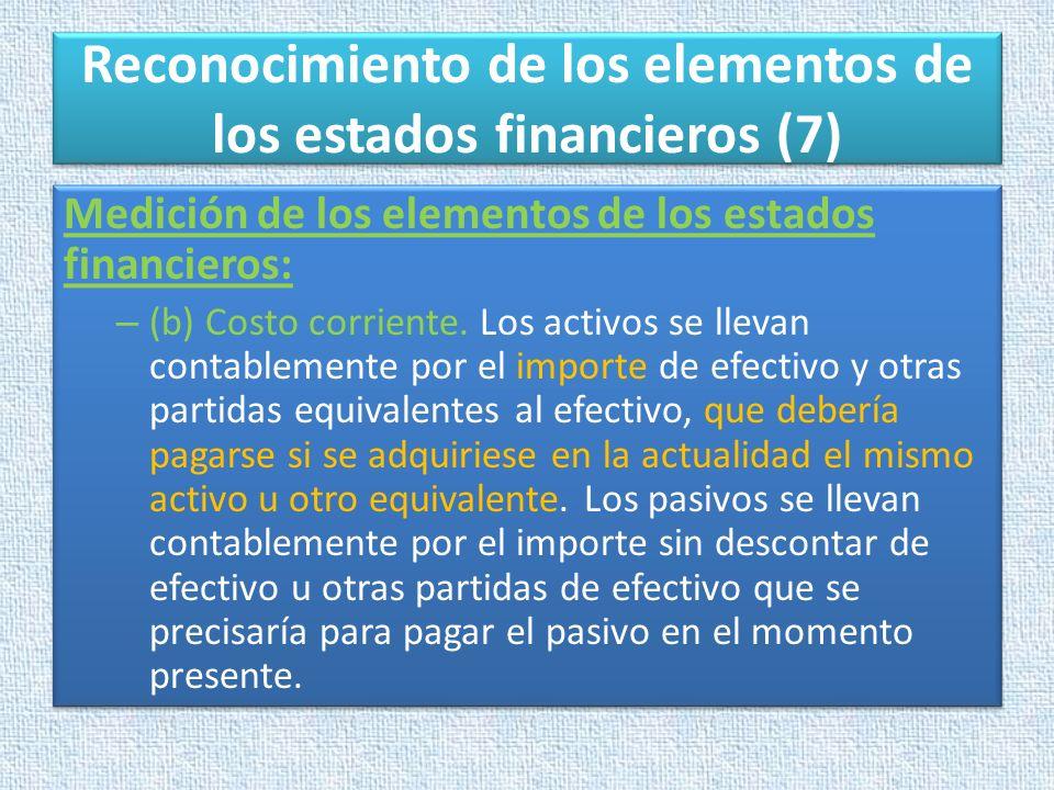 Reconocimiento de los elementos de los estados financieros (7)