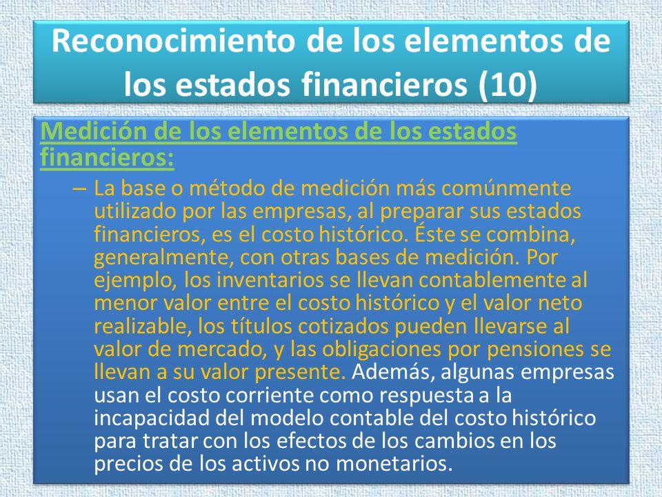 Reconocimiento de los elementos de los estados financieros (10)