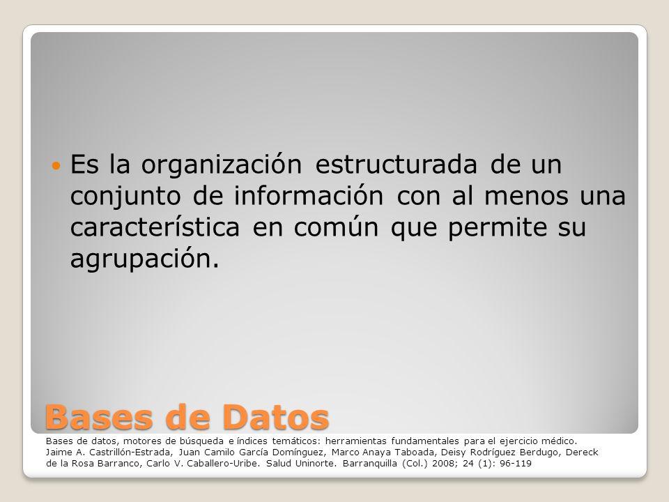 Es la organización estructurada de un conjunto de información con al menos una característica en común que permite su agrupación.