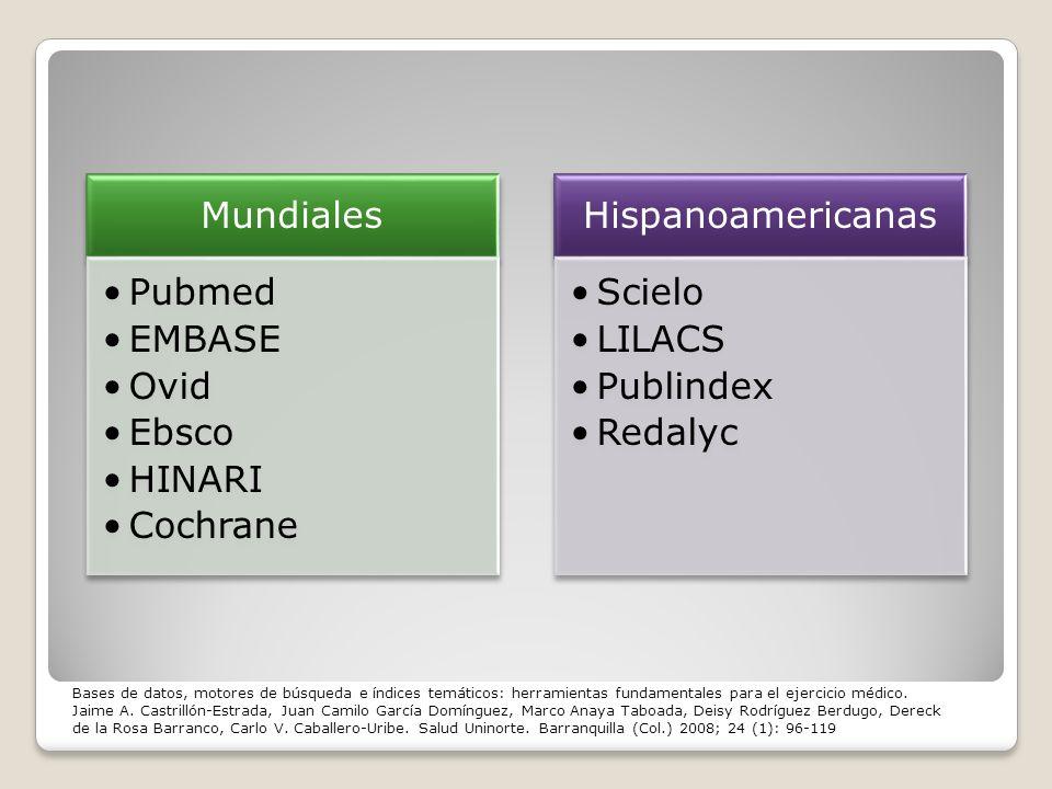 Mundiales Pubmed. EMBASE. Ovid. Ebsco. HINARI. Cochrane. Hispanoamericanas. Scielo. LILACS.