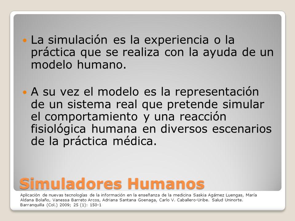 La simulación es la experiencia o la práctica que se realiza con la ayuda de un modelo humano.