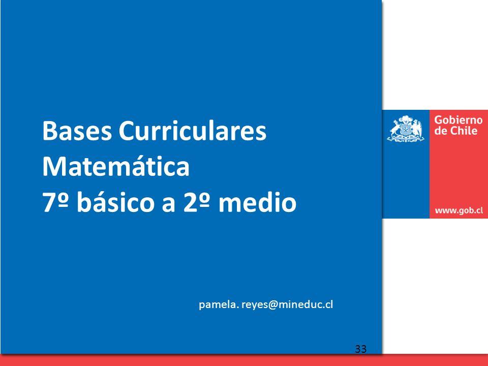Bases Curriculares Matemática 7º básico a 2º medio