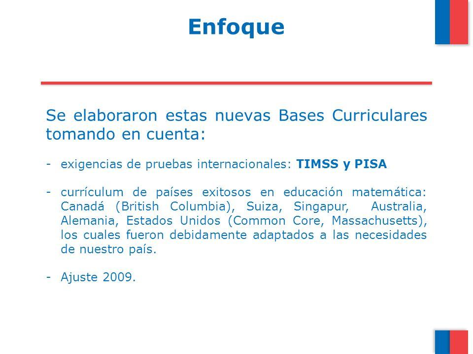 Enfoque Se elaboraron estas nuevas Bases Curriculares tomando en cuenta: exigencias de pruebas internacionales: TIMSS y PISA.