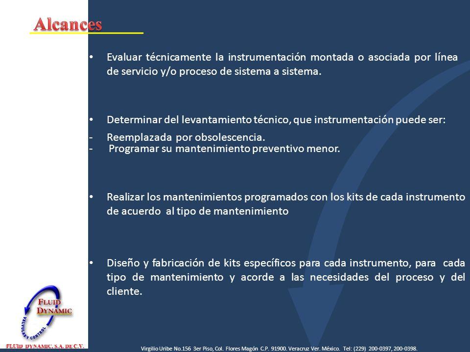 Alcances Evaluar técnicamente la instrumentación montada o asociada por línea de servicio y/o proceso de sistema a sistema.