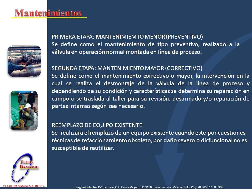 Mantenimientos PRIMERA ETAPA: MANTENIMIEMTO MENOR (PREVENTIVO)