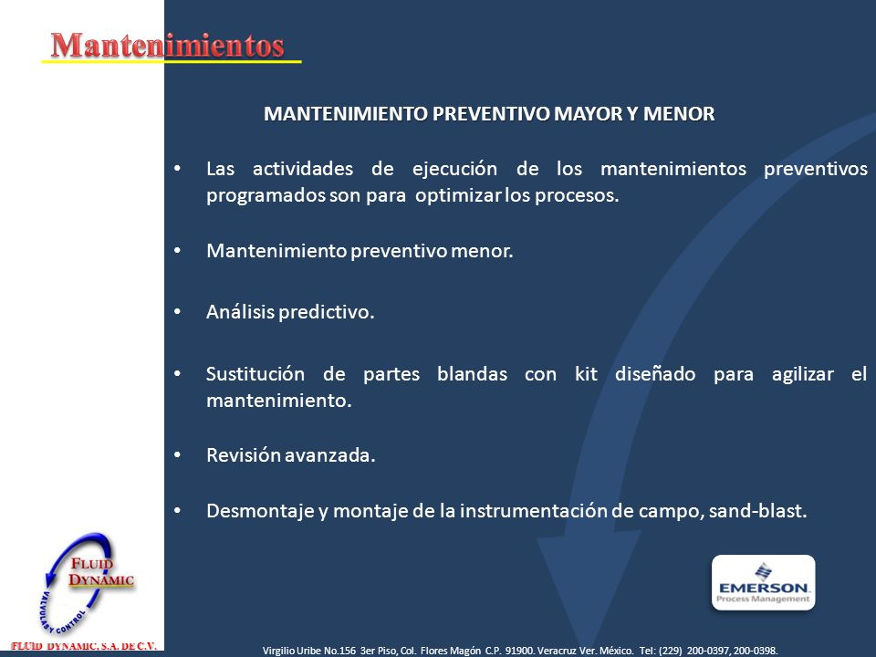 MANTENIMIENTO PREVENTIVO MAYOR Y MENOR