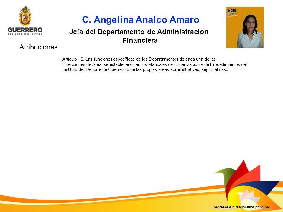 Jefa del Departamento de Administración Financiera