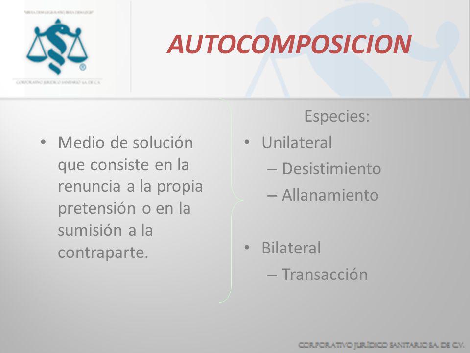 AUTOCOMPOSICION Medio de solución que consiste en la renuncia a la propia pretensión o en la sumisión a la contraparte.