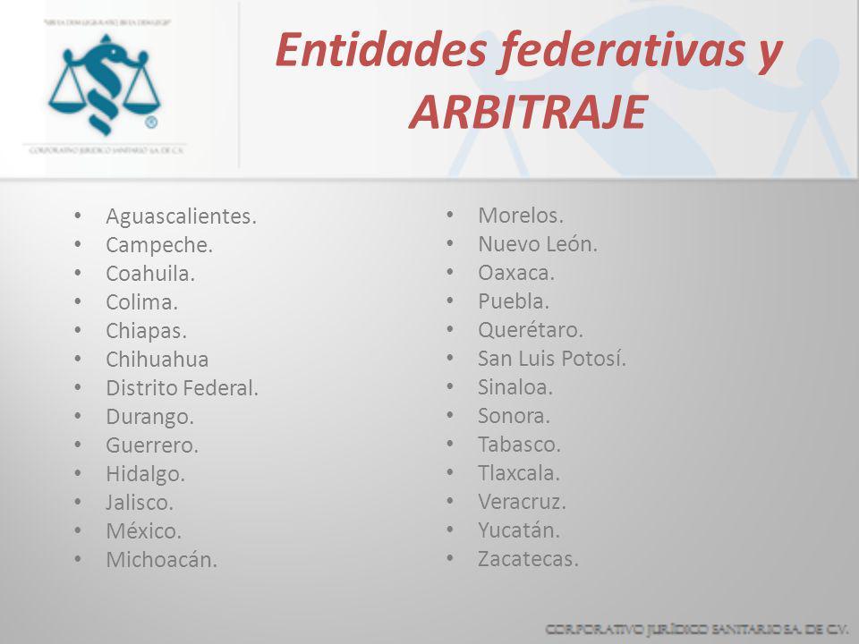 Entidades federativas y ARBITRAJE