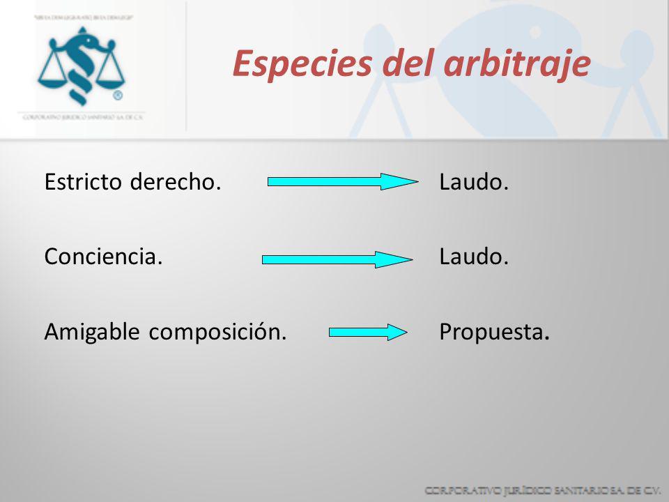 Especies del arbitraje