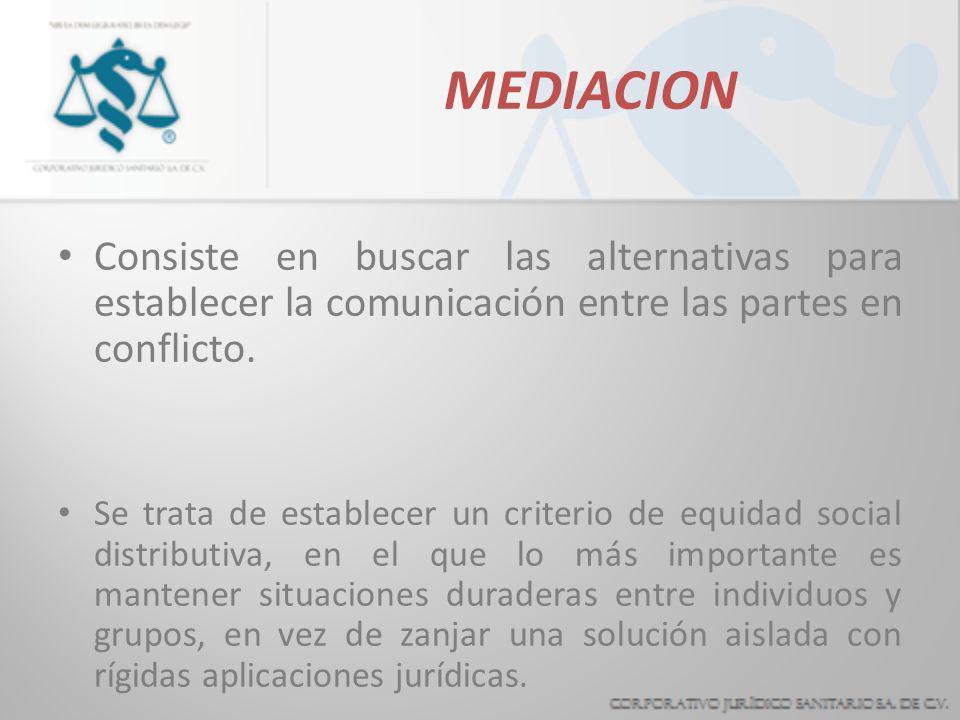 MEDIACIONConsiste en buscar las alternativas para establecer la comunicación entre las partes en conflicto.