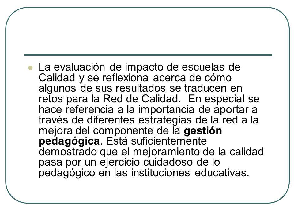 La evaluación de impacto de escuelas de Calidad y se reflexiona acerca de cómo algunos de sus resultados se traducen en retos para la Red de Calidad.