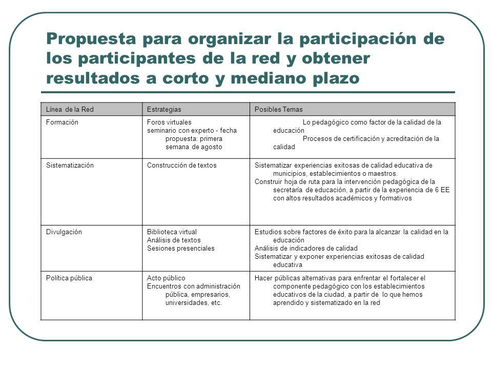 Propuesta para organizar la participación de los participantes de la red y obtener resultados a corto y mediano plazo