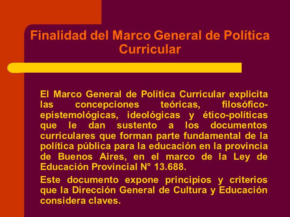 Finalidad del Marco General de Política Curricular