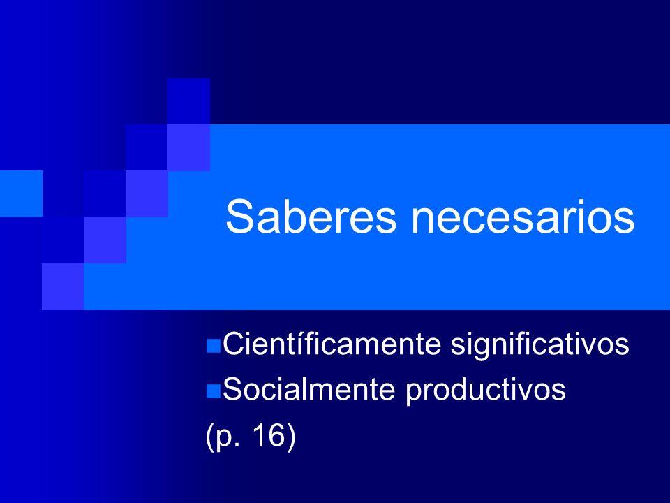 Científicamente significativos Socialmente productivos (p. 16)