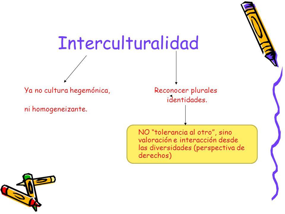 Interculturalidad Ya no cultura hegemónica, Reconocer plurales