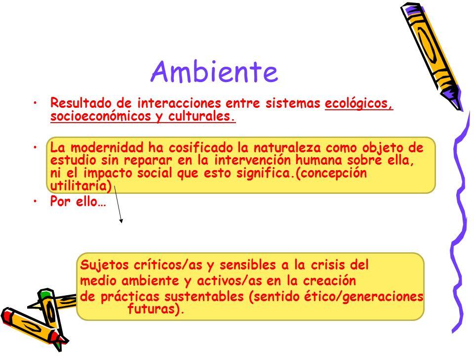 Ambiente Resultado de interacciones entre sistemas ecológicos, socioeconómicos y culturales.
