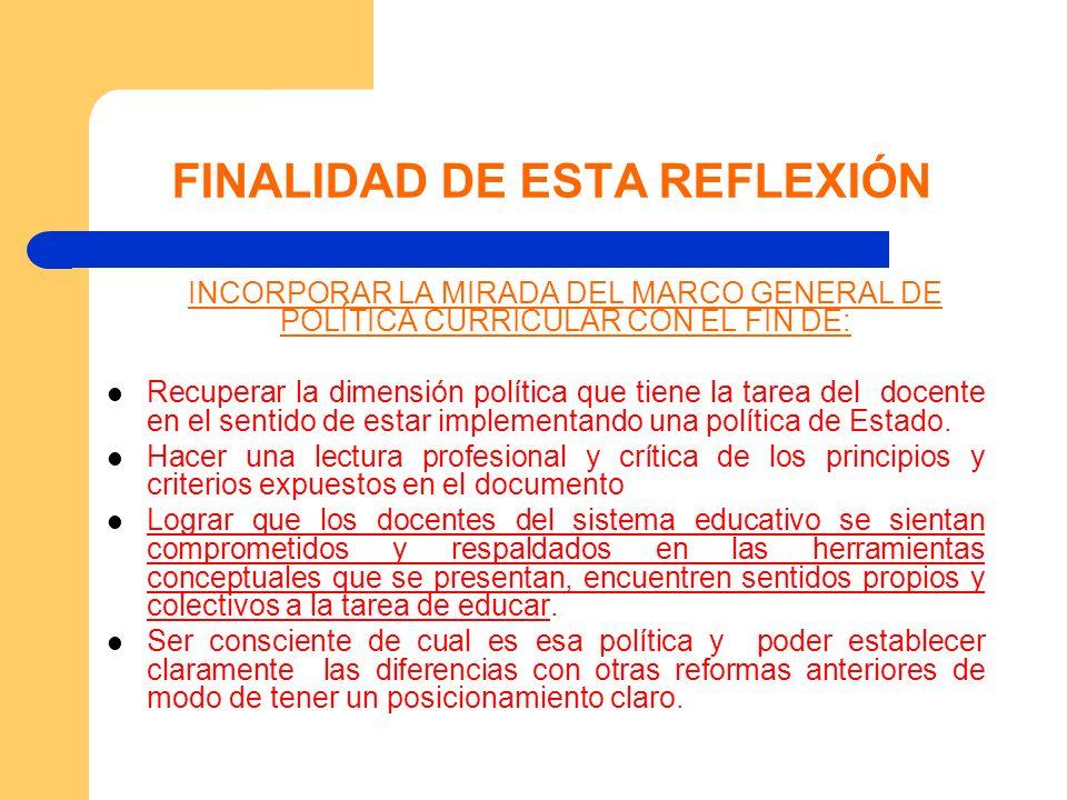 FINALIDAD DE ESTA REFLEXIÓN