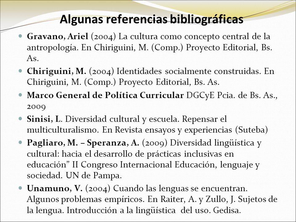 Algunas referencias bibliográficas