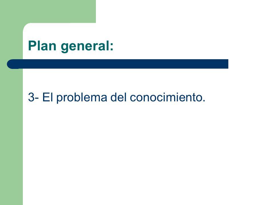 Plan general: 3- El problema del conocimiento.