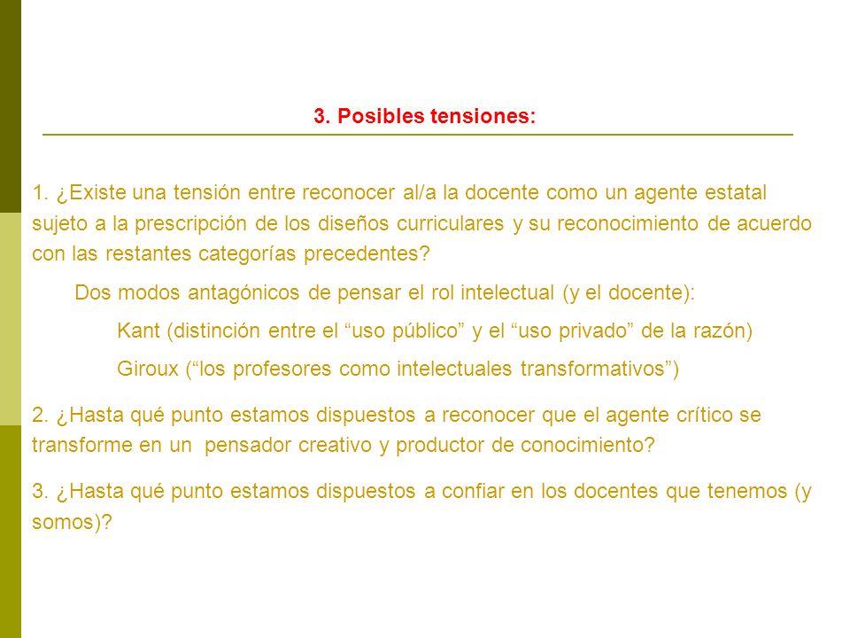 3. Posibles tensiones:
