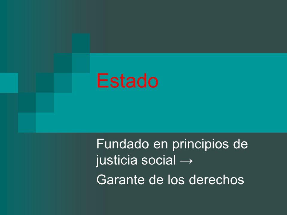 Fundado en principios de justicia social → Garante de los derechos