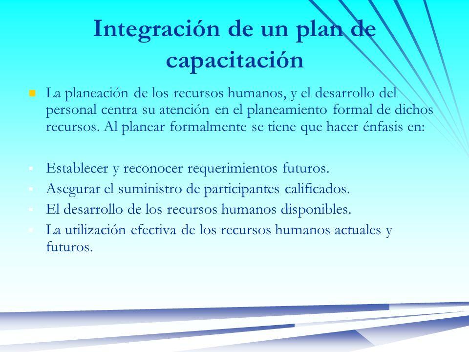 Integración de un plan de capacitación