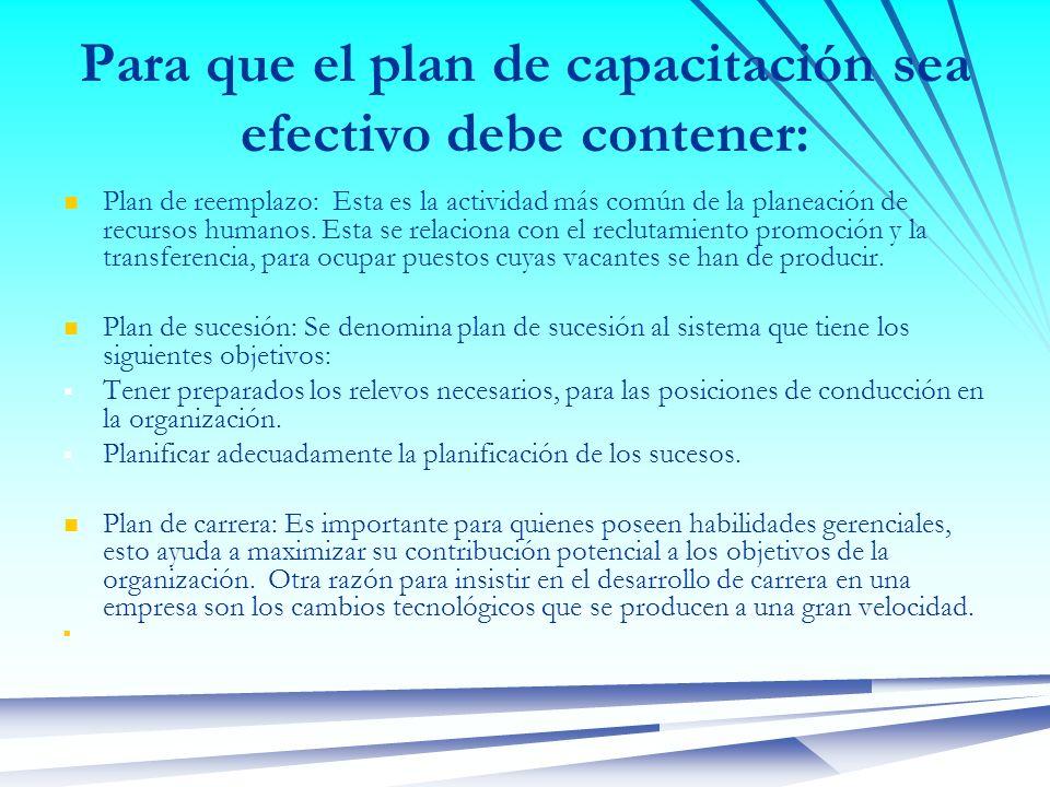 Para que el plan de capacitación sea efectivo debe contener: