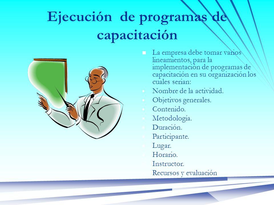 Ejecución de programas de capacitación