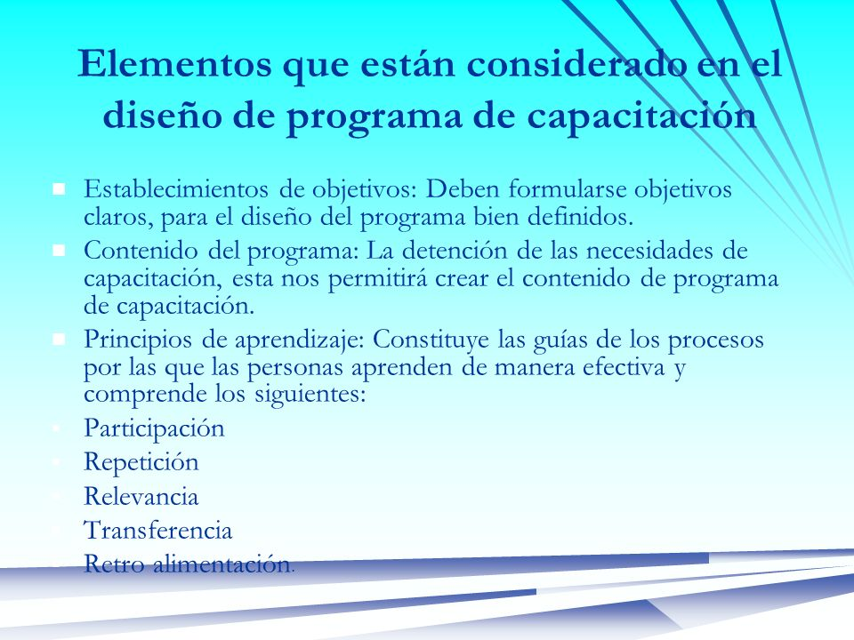 Elementos que están considerado en el diseño de programa de capacitación