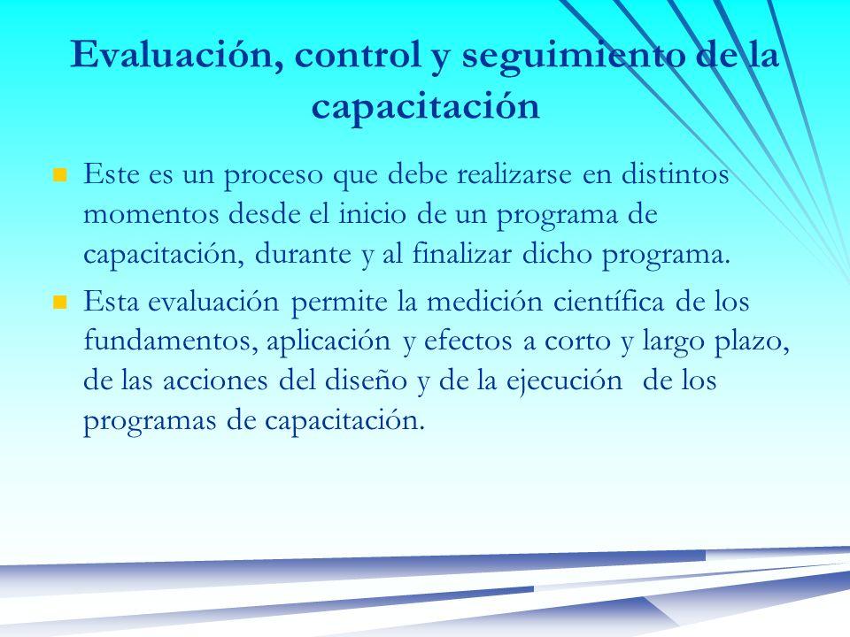 Evaluación, control y seguimiento de la capacitación