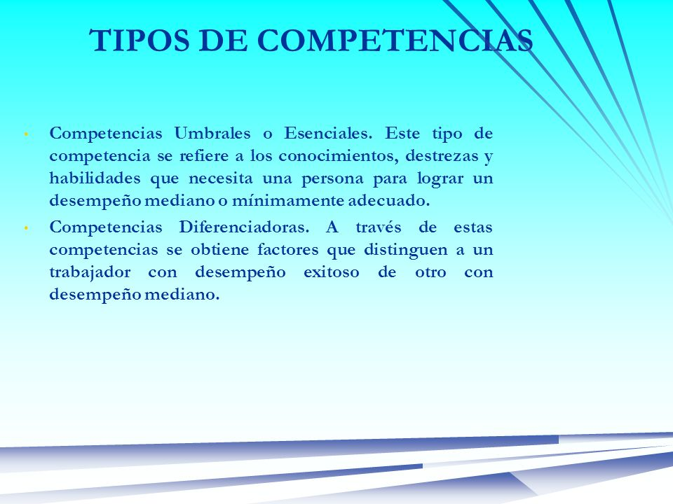 TIPOS DE COMPETENCIAS