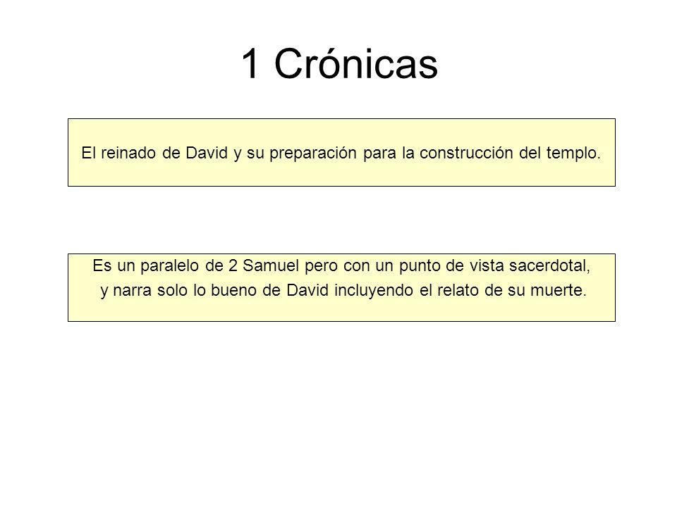 1 Crónicas El reinado de David y su preparación para la construcción del templo. Es un paralelo de 2 Samuel pero con un punto de vista sacerdotal,