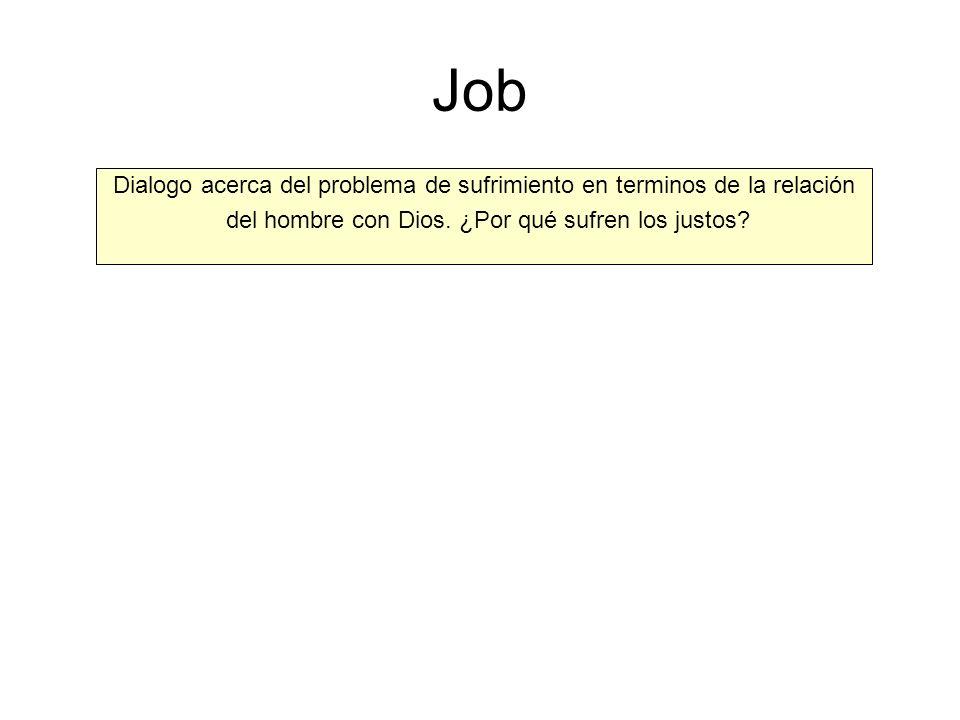 Job Dialogo acerca del problema de sufrimiento en terminos de la relación.