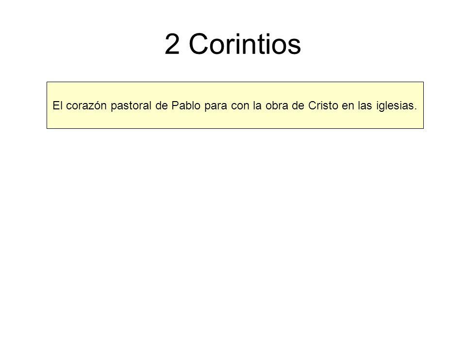 2 Corintios El corazón pastoral de Pablo para con la obra de Cristo en las iglesias.