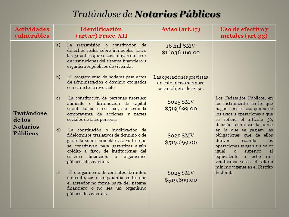 Tratándose de Notarios Públicos