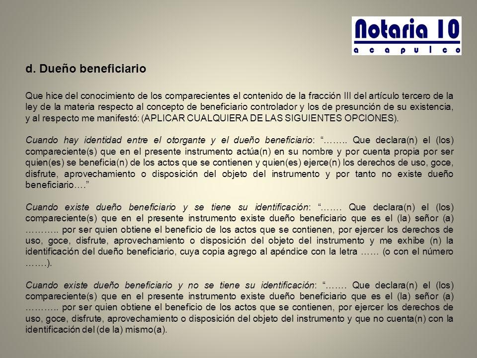 d. Dueño beneficiario