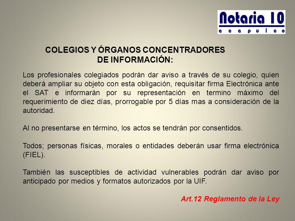 COLEGIOS Y ÓRGANOS CONCENTRADORES