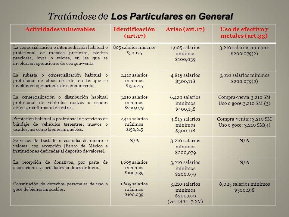 Actividades vulnerables Uso de efectivo y metales (art.33)