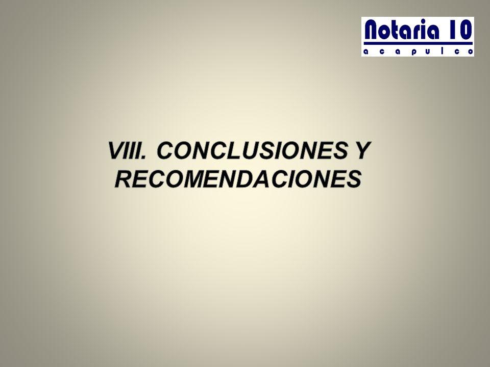 VIII. CONCLUSIONES Y RECOMENDACIONES