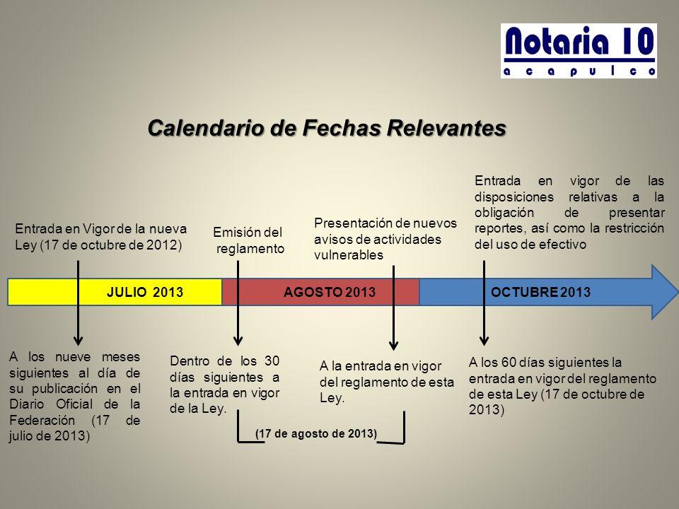Calendario de Fechas Relevantes