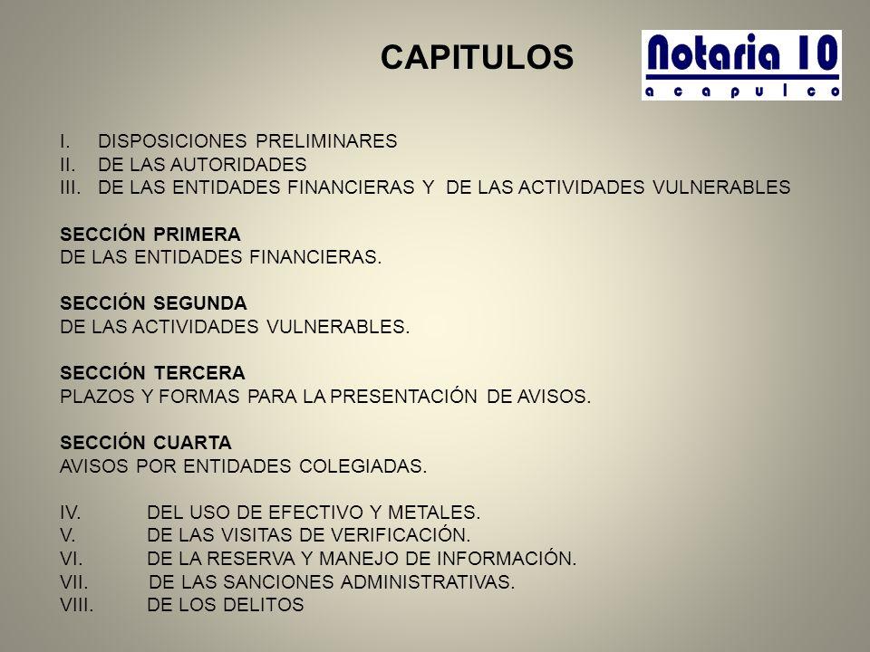 CAPITULOS DISPOSICIONES PRELIMINARES DE LAS AUTORIDADES