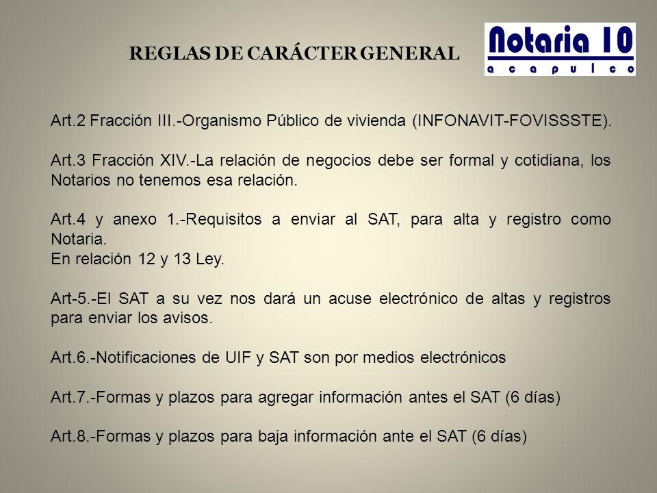 REGLAS DE CARÁCTER GENERAL