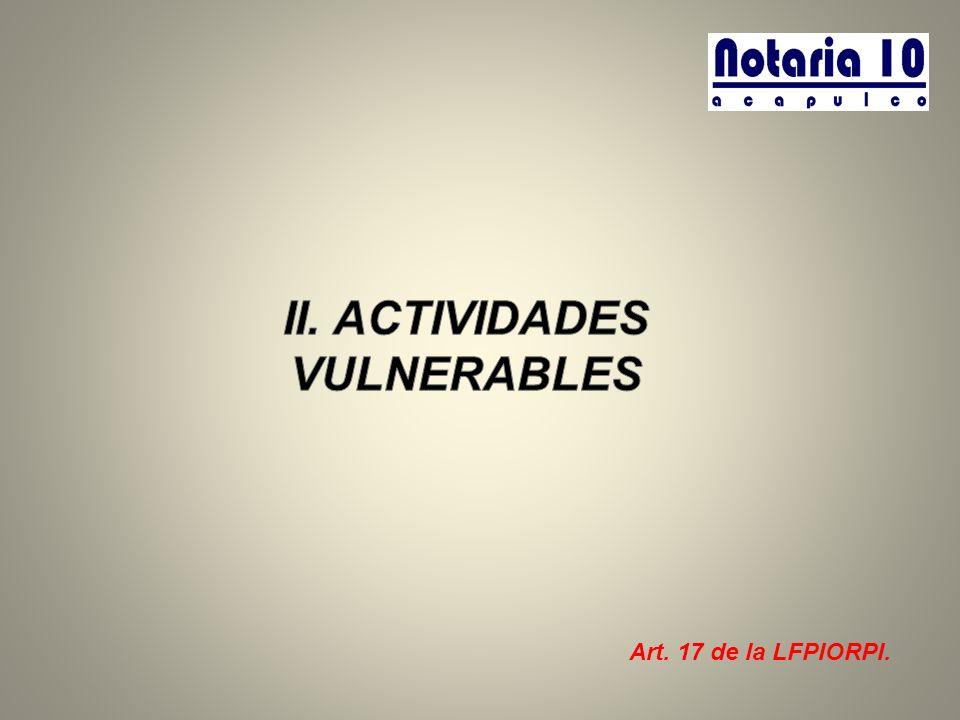 II. ACTIVIDADES VULNERABLES