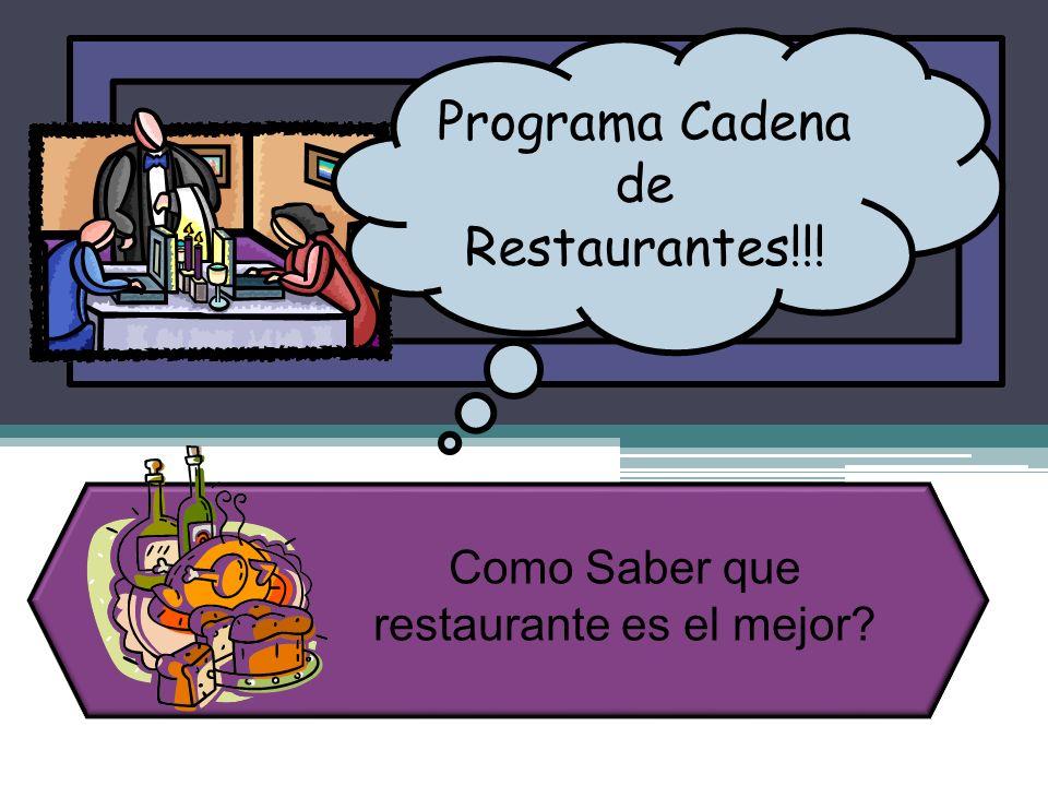 Programa Cadena de Restaurantes!!!