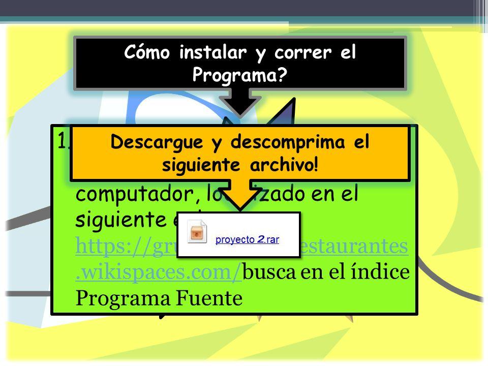 Cómo instalar y correr el Programa