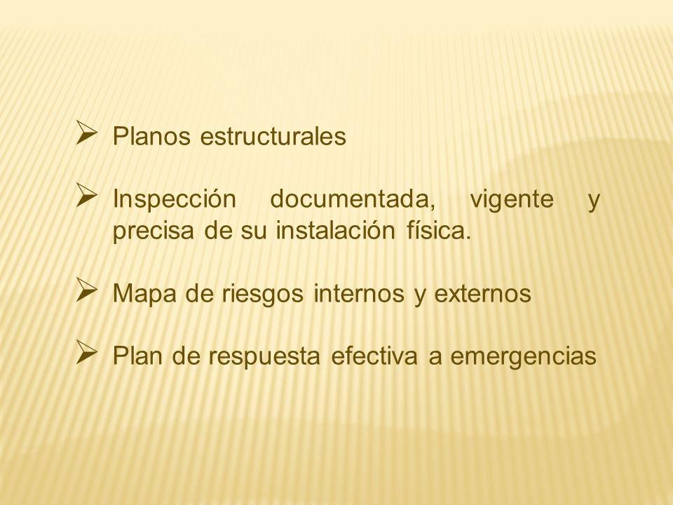 Inspección documentada, vigente y precisa de su instalación física.