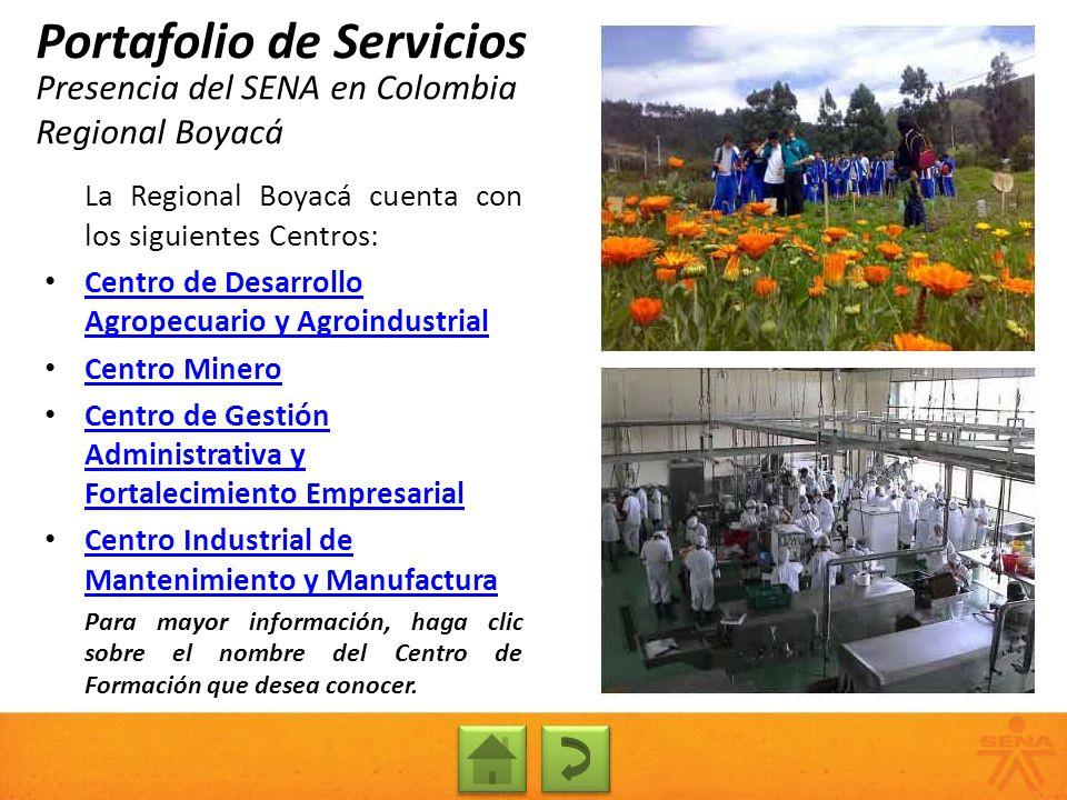 Presencia del SENA en Colombia Regional Boyacá