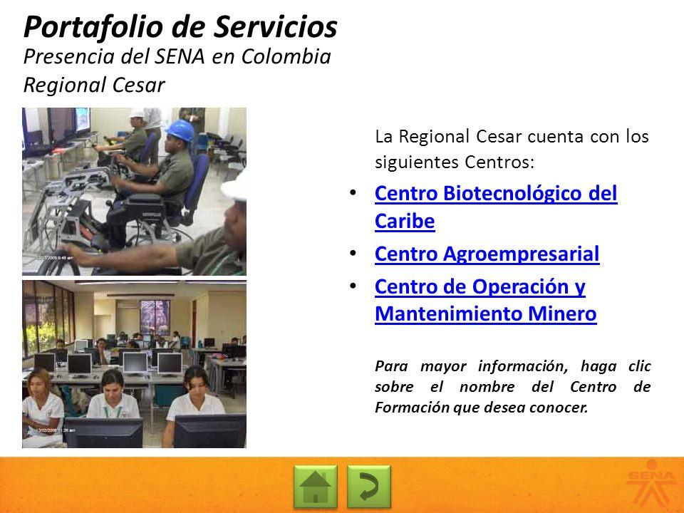 Presencia del SENA en Colombia Regional Cesar